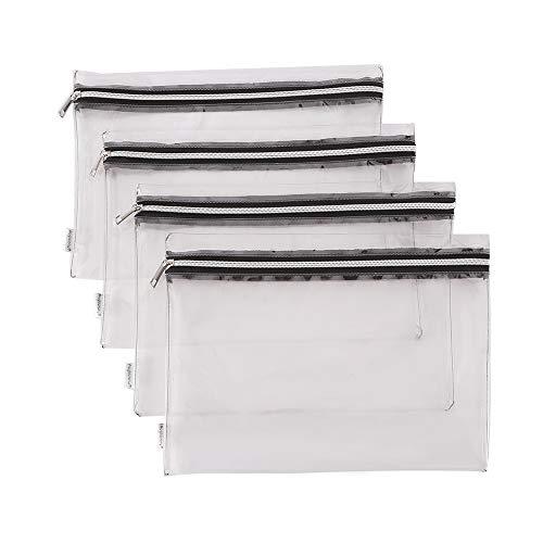 Augbunny Clear Vinyl Zipper Multi-Purpose Waterproof School Office Home Supply Organizers Pouch Tool Bag 4-Pack ()