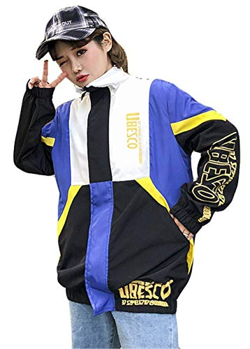 Tempo Sportivo Digitale Lunghe Colori Women Maniche Libero Outerwear Harajuku Giacche Blau Primaverile Stampate Giubbino Facile Misti Yasminey Autunno Stile Donna Giovane Coat Sciolto UPEqxa