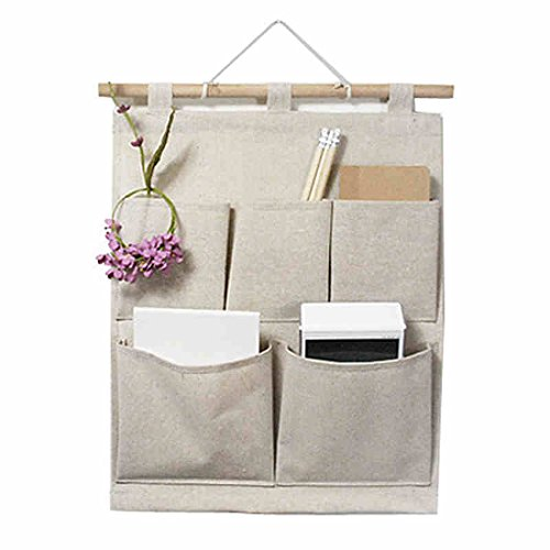 kingree over the door magazine storage pockets, wall door closet hanging storage bag organizer, (5 pockets-nature)