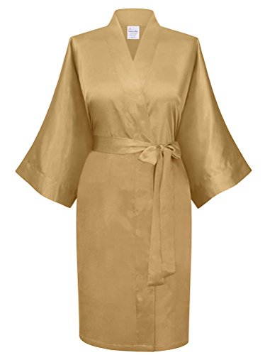 Swhiteme Women's Kimono Robe, Short, One Size (Champagne)