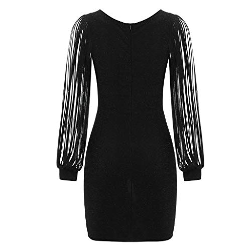 Paillette Mariage Cocktail Femmes Couleur Chic Longues Franges Rond V Club De Vintage À Robe Unie Sexy Noir Shining Mini Manches Col Moulante Brillant Soirée Dress Slim SrErP