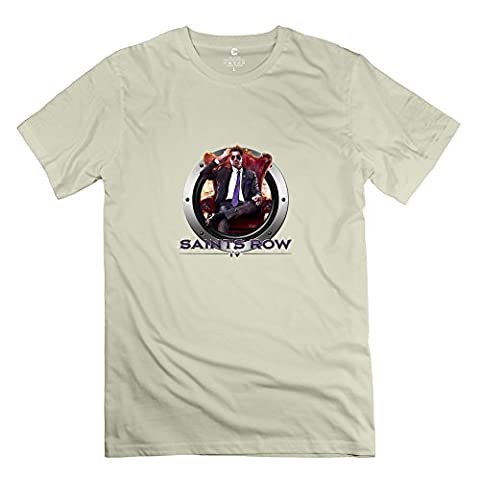 Saints Row IV: Re-Elected Icon Fun 100% Cotton Natural T Shirts For Mens Size L