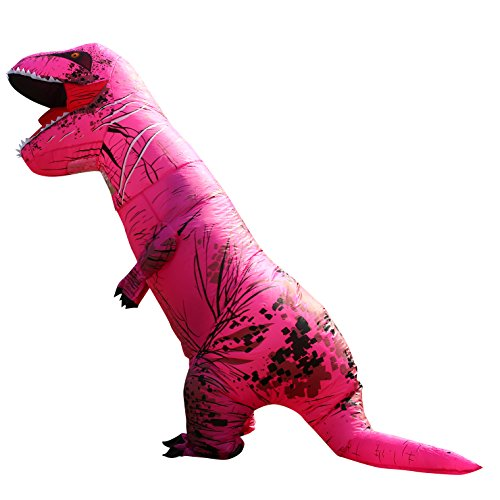 [Men's Novelty Fancy Costume Inflatable Fuchsia t-rex Blow up Outfit for Halloween & Christmas] (Animal Suits For Adults)