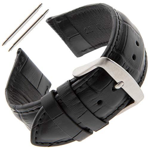 Gilden Unisex 22mm Sweat-Resistant Gator-Grain Watch Band MSW30-0122 (22 Millimeter end Width, Black) ()