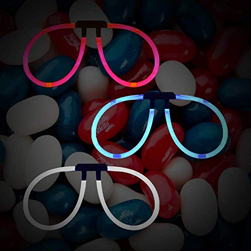 Lumistick Aviator Glow Eyeglasses | Light Up Eye-catching Party Wear Sunglasses | 4th of July Independence Day Party Decoration Supplies Pack of 150 Glasses (Red, White & Blue)]()