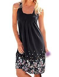 Shinekoo Women Floral Print Tank Top Dress Summer Casual Beach Sundress