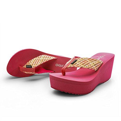 Antidérapant Tige Pantoufle Tissu Rouge Hauts Épais Sandales Décontractées Talons en Rose Toe Clip Élastique De Talon Chaussures Pente Mme Chaussures À nbsp; CPddwqt