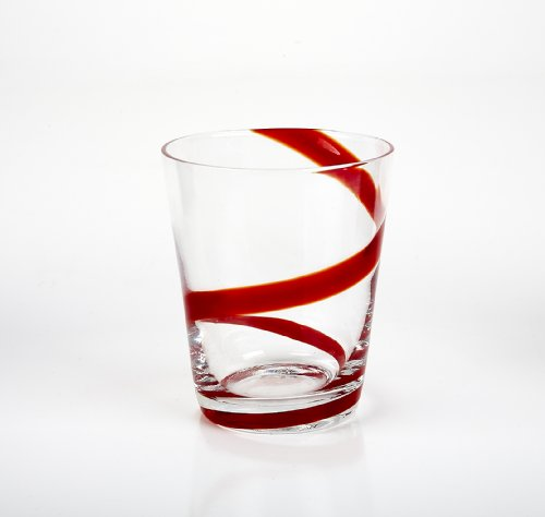 IMPULSE! Crazy Rocks Hand-Crafted Glass, Red, Set of 6