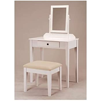 Exceptional White Bedroom Vanity Table With Tilt Mirror U0026 Cushioned Bench