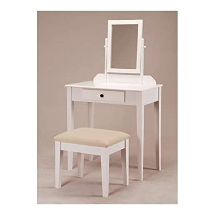 Amazon.com: White Bedroom Vanity Table with Tilt Mirror & Cushioned ...