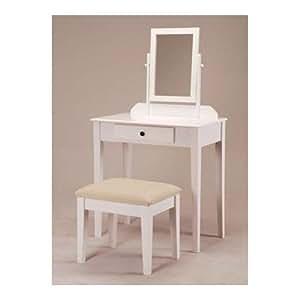 Amazon.com: White Bedroom Vanity Table with Tilt Mirror