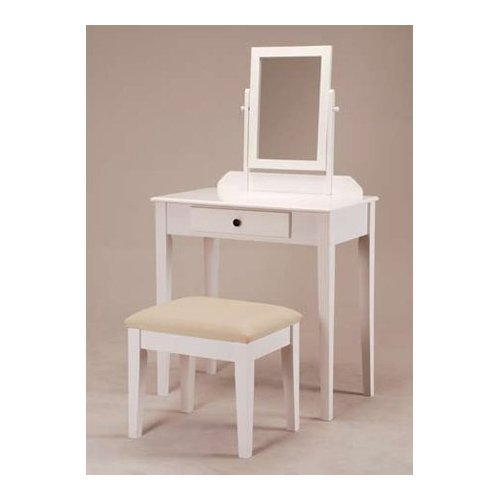 Asia Direct White Finish Wood Vanity Make up Table with Bench
