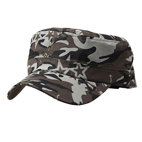 Challyhope Classic Fashion Unisex Outdoor Camo Tactical Plain Cadet Caps Army Military Hats Various Style and Colors Adjustable (Camo B)