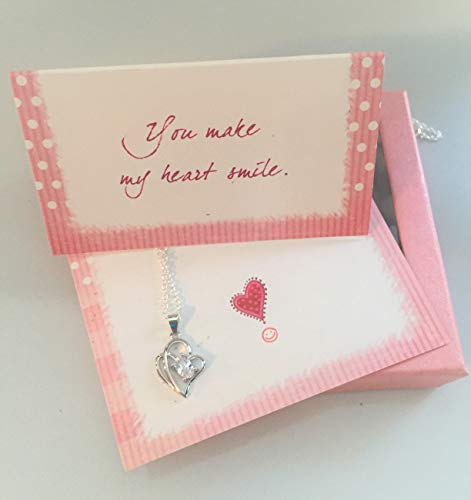 (Smiling Wisdom - You Make My Heart Smile! Gift Set - Encouraging Card & Silver Plated Cute Heart Necklace for Women & Girls, Tween, Teens, Daughter, Women for Her)