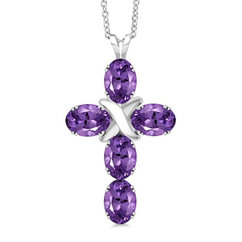 Gem Stone King 2.25 Ct Oval Purple Amethyst 925 Sterling Silver Cross Pendant With Chain