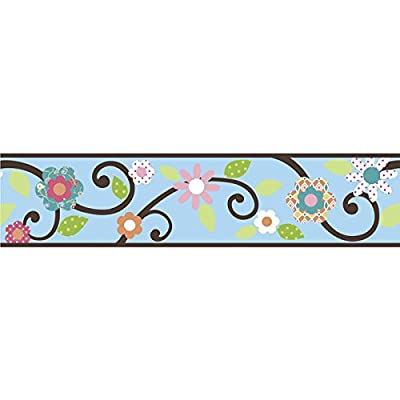 RoomMates RMK1456BCS Floral Scroll Peel & Stick Border, Blue and Brown