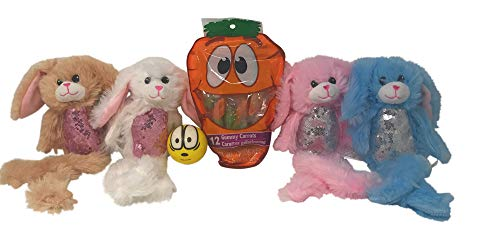 Easter Bunny Bundle, Includes 4 Stuffed Bunnies (Blue, Brown, Pink, and White) a Bag of Gummy Carrots, and an Emoji Stress - Water Corn Syrup