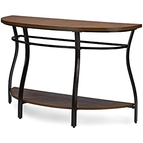 Vintage Industrial Metal Console Table In Brown