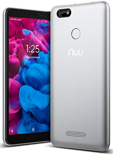 NUU Mobile A5L 5.5' 16GB/1GB RAM - Unlocked Cell Phone - Android Oreo (Go Edition) GSM 4G LTE Only - U.S. Warranty (Silver)