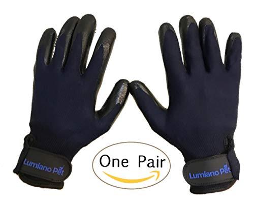 LUMIANO PET Dog Grooming Gloves-Hair Remover Deshadding Brush Glove- Mitt Gentle for Long & Short Fur, Shedding,...
