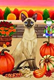 Siamese Cat Tomoyo Pitcher Autumn Garden Flag 28″x40″