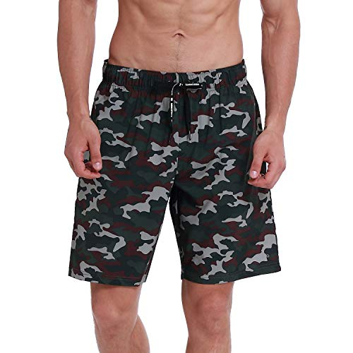 - HOdo Mens Swim Trunks Quick Dry Beach Shorts Bathing Suits with Mesh Liner Army Green Camo-L
