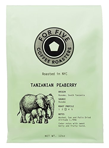 For Five Coffee Roasters Tanzania Peaberry Whole Bean 12 oz