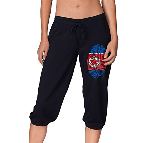 North Korea Flag Fingerprint Women's Workout Knee Pants for Walking Legging Sports Pants