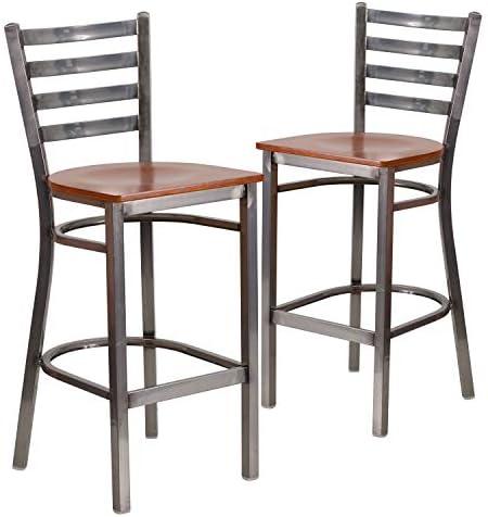Flash Furniture 2 Pk. HERCULES Series Clear Coated Ladder Back Metal Restaurant Barstool