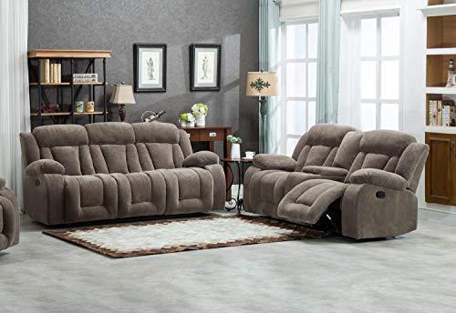 Esofastore Comfortable Cushion Recliners 2pc Sofa Set Tan Color Fabric Sofa Loveseat w Console Living Room ()