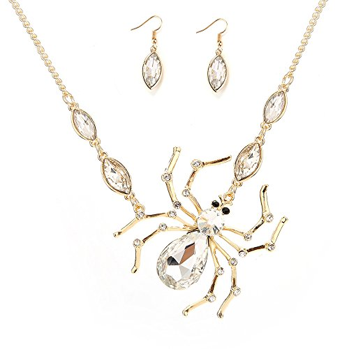 17Rainbow Halloween Jewelry Faceted Crystal Rhinestones Spiders Pendants Steampunk Necklace Earrings Jewellery Set (Gold Tone) (Faceted Crystal Necklace Earrings)