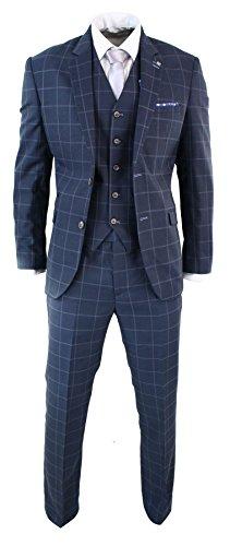 Mens 3 Piece Tailored Fit Check Suit Grey Navy Blue Smart Formal Classic Vintage (Smart Classic Suit)