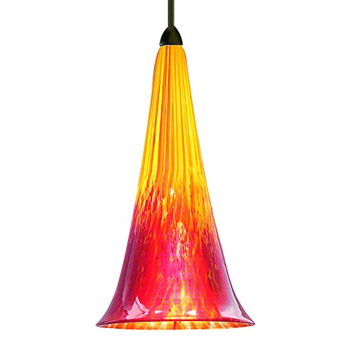 WAC Lighting MP-614-YR/DB Passion 1 Light Canopy Pendant, Halogen/Xenon, Yellow Red/Dark Bronze