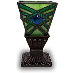 Mission Style Stained Glass Tiffany Stained Glass Memory Lamp - Emerald Green Memorial Lamps - Engraving Sold Separately