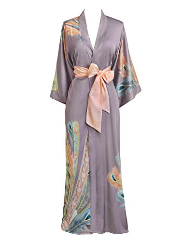 Old Shanghai Women's Kimono Robe Long - Watercolor Floral, Peacock Feather- (Vintage Robe)