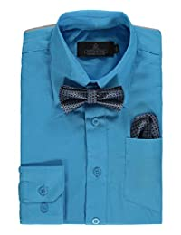Vittorino Big Boys' Dress Shirt with Bowtie & Matching Pocket Square