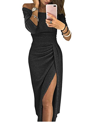 - ONine Women Off Shoulder Ruched Metallic Knit High Slit Evening Party Cocktail Dress, Black XL