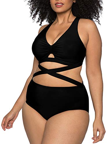 Kisscynest Women's Plus Size Swimwear 2 Piece High Waisted Swimsuits Black 3XL