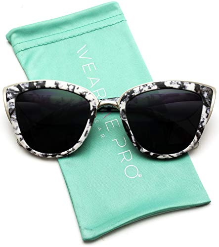 Womens Cat Eye Mirrored Reflective Lenses Oversized Cateyes Sunglasses (Black Marble/Black Lens, ()