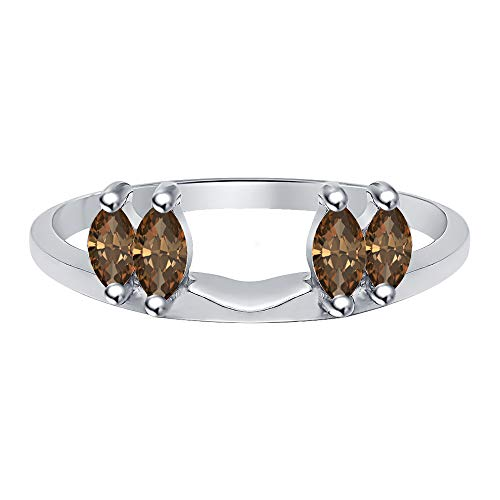 tusakha 0.50 Ctw Marquise Cut Created Smoky Quartz 14K White Gold Plated Ladies Guard Anniversary Wrap Jacket 925 Sterling Silver ()