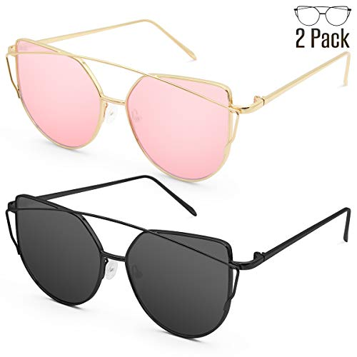 Livhò Sunglasses for Women, Cat Eye Mirrored Flat Lenses Metal Frame Sunglasses UV400 (GOLD PINK+BLACK GRAY)