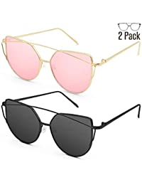 Sunglasses for Women, Cat Eye Mirrored Flat Lenses Metal...
