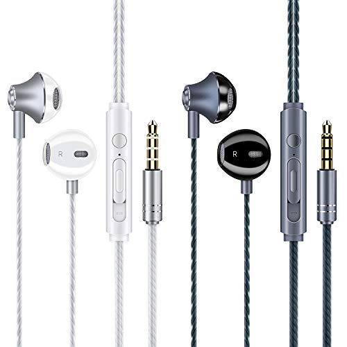 Earphones Headphones, Boxeroo Earbuds Premium Hand-Free Noise Isolating in-Ear Earphones with Remote & Mic Compatible with Smartphone, MP3/MP4 Player, Tablet and All 3.5mm Audio Device (2Pack)
