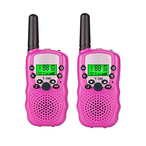 Aphse Kids Walkie Talkie Two Ways Radio Toy T-388 Walkie Talkie for Kids 3 Miles Range 22 Channels Built in Flash Light FRS GMRS Mini Handheld Toy for Outdoor Adventures Camping Hiking Set of 2