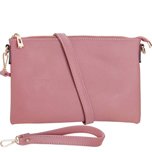 Humble Chic Vegan Leather Crossbody Tablet Purse - Convertible Travel iPad Wallet Pouch or Messenger Bag, Rose, Light Pink, Blush, -