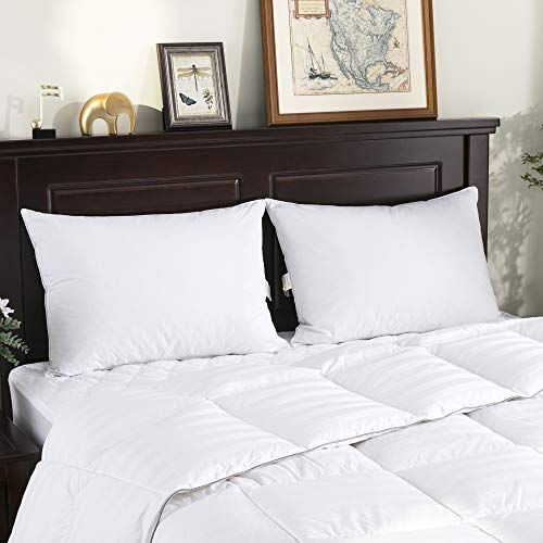 puredown Standard Size Soft Down Feather Bed Pillows Sleeping Washable-Standard Size-2 packs-100% Cotton Cover