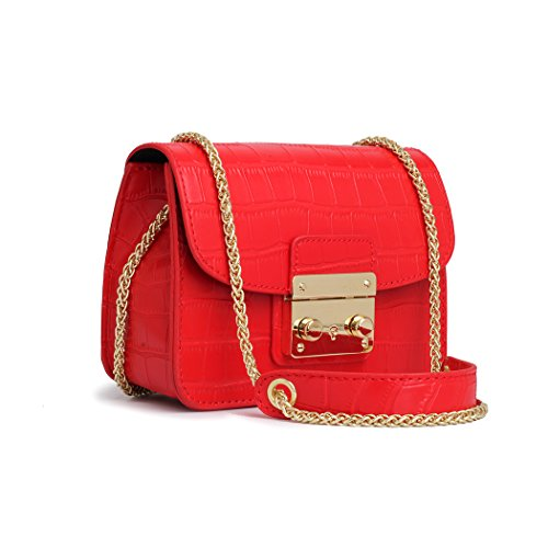 (Small Alligator Chain bags for Women Red Crossbody Clutch Black Crossbody Purse for Wedding with Removable Chain Strap)