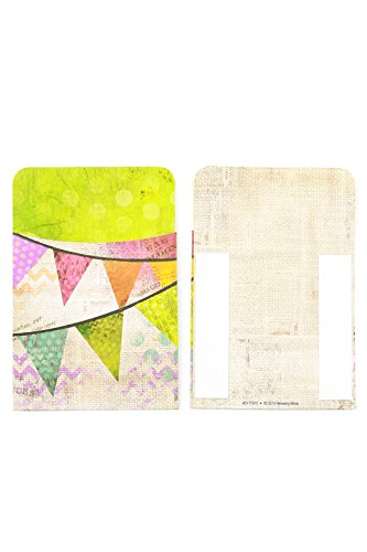 Renewing Minds Retro Chic Self-Adhesive Book Pockets, 3-1/2 x 5 inches, Multi-Colored Pennants, Pack of ()