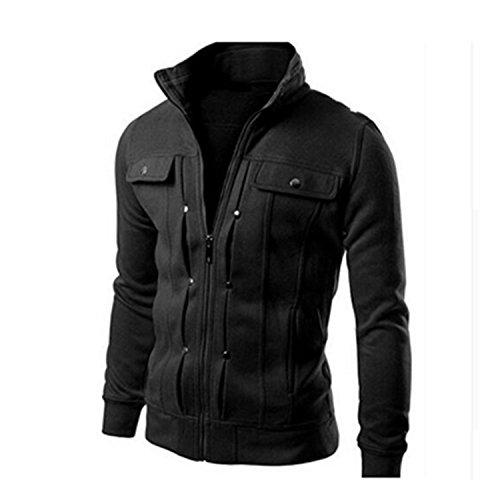 MRstriver Jacket Causal Men's Coat Zipper Tracksuit Jacket Spring Autumn Mens Jackets and Coats New Black Thick XL