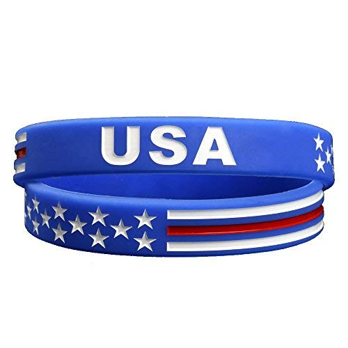 (Sainstone Triumph of Faith USA American Flag Bracelet Silicone Rubber Wristbands Americanism Partriotic Spirit Sports Holiday Gifts)
